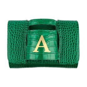 Haidi - Green Leather Clutch Bag - with a Gold Plated Letter A
