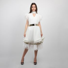 Ghadeer Albarjas - White Boomerang Layered Dress with Embroidered Lace and Fur with Golden Belt