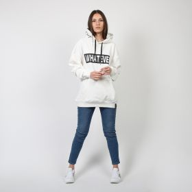 White Cotton Whatever Single Hoodie - Free Size
