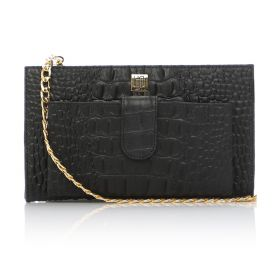 Crocodile Printed Cow Leather Clutch Bag with Golden Chain Strap - Black