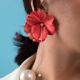 Crystal Touch - A Symetric Coral Red Flower Earring And Hoop Brass