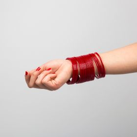 Thorns_gcc - Maroon Acrylic Bangles Set ( 20 Pieces ) - Size 2.8 Inch