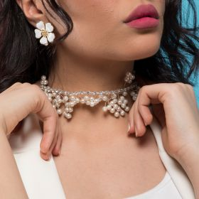 White Pearls & Crystal Multi Purpose Head Accessory and Choker