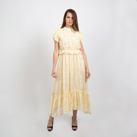 Armanosa Collection - Light Yellow Dress with Golden Studs with Golden Belt - Medium