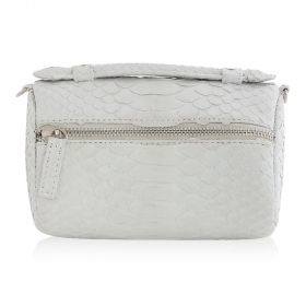 Quirkyblings - The Salma Python Skin & Zipper Cross Body Bag - Matte White