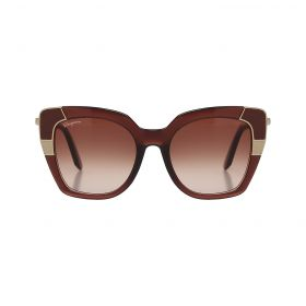 Salvatore Ferragamo - Color Block Butterfly Brown & Gold Sunglasses