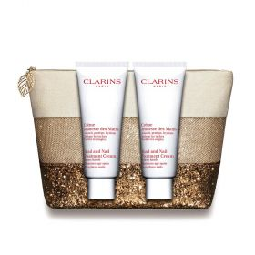 Clarins Collection Belles Mains Hand & Nail Treatment Cream - 2x100ml + Pouch