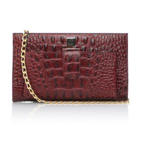 Crocodile Printed Cow Leather Clutch Bag with Golden Chain Strap - Maroon