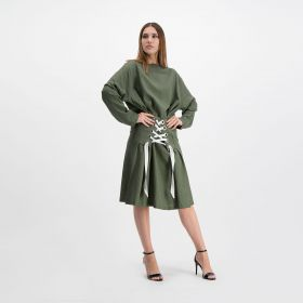 Casual Ribbon Linen Dress- Olive- Free Size