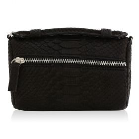Quirkyblings - The Salma Python Skin & Zipper Cross Body Bag - Matte Black
