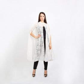 Cape Dress with Button- Offwhite- Free Size