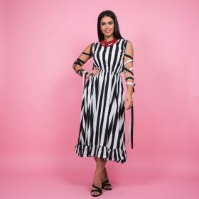 Dalamara - White & Black Striped Dress