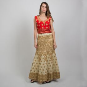 Dar Alzain2018 - 2 Piece Sari Dress with Red Top and Light Golden Skirt with Embroidery