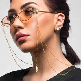 Ghadeer Albarjas -Sunglasses straps - Gold 2 Layer chain