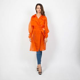 Orange Organza Trench Coat - Free Size