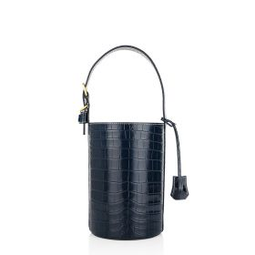 Blue Leather Bucket Bag -  Women
