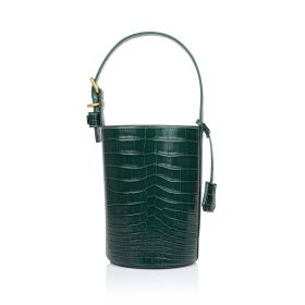 Women Leather Bucket Bag - Green