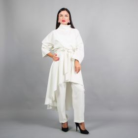 Set of Long Top & Pant with Belt- Offwhite- Free Size