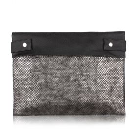 Notes and Laptop Folder Embossed Leather - Black with Gray Silver