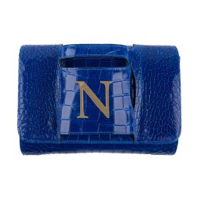 Haidi - Casual Blue Leather Clutch Bag with a Gold Plated Letter N