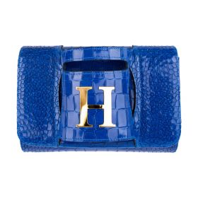 Haidi - Casual Blue Leather Clutch Bag - with a Gold Plated Letter H