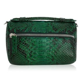 Quirkyblings - The Salma Python Skin & Zipper Cross Body Bag - Emerald Green Motif