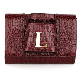Sac Studio - Haidi Casual Burgundy Leather Clutch Bag with a Gold Plated Letter L