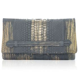 QuirkyBlings - Aicha Clutch - Grey with Gold Strokes Envelope Clutch with Front Slide Through Handle