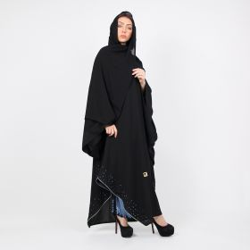 Black Abaya with a Skirt and a Scarf - Large