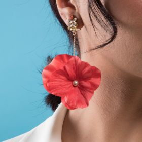 Crystal Touch - A Symetric Coral Red Flower Earring Brass