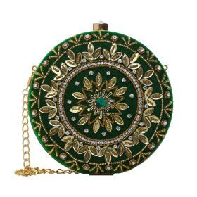 Thorns_GCC - Round Clutch With Hand Made Embroidery - Green