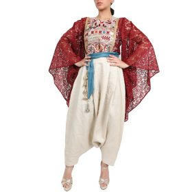 Fatima Al Ateeqi - Red Lace Embroidered Top And Beige Linen Trouser - Large Size