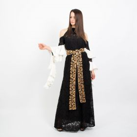 Murads Collection - Black and White Kaftan with Ruffles - Free Size