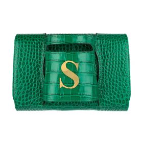 Haidi - Casual Green Leather Clutch Bag - with a Gold Plated Letter S