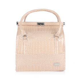 Crocodile Makeup Bag - Beige