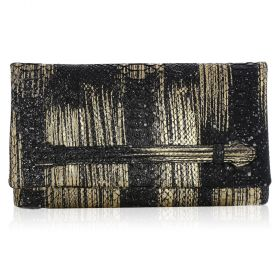 Quirkyblings - Aicha Clutch Python Skin Clutch Bag - Black with Gold Strokes