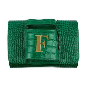 Haidi - Casual Green Leather Clutch Bag - with a Gold Plated Letter F