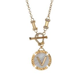 """V"" Letter Necklace 18K Gold Plated and Mother of Pearl with Austrian Crystals"