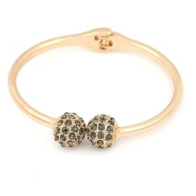 2 Sphere Ball Bangle 18K Gold Plated and Austrian Crystals