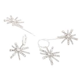 La.vang - 2 Piece Set - Star Shaped Silver Earings and Hairclips with Crystals and Beads
