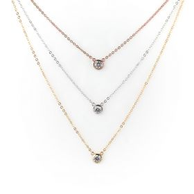 Tri Color Spot Necklace- Gold, Silver and Rose Gold Plated