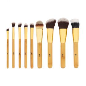 AH by Azhar - Bamboo Makeup Brushes Set - For Face & Eyes - 9pcs