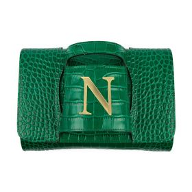 Haidi - Casual Green Leather Clutch Bag - with a Gold Plated Letter N