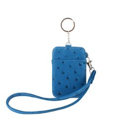 Keys & Card Holder Embossed Ostrich - Blue