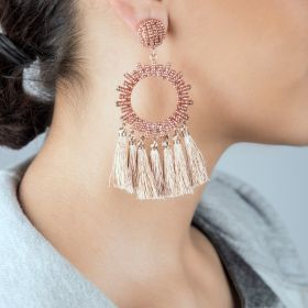 Ghadeer Albarjas - Bead Drops Earrings - Rose Gold