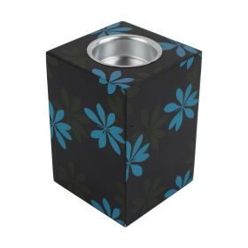 Stop Motion - Wooden Mabkhar with Flower Design - Black With Blue
