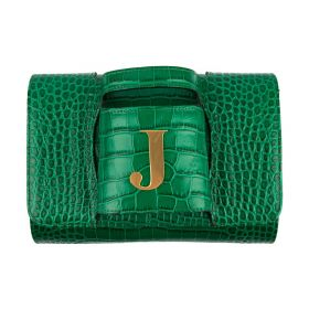 Haidi - Casual Green Leather Clutch Bag - with a Gold Plated Letter J