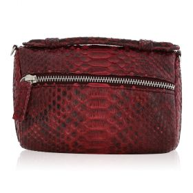 Quirkyblings - The Salma Python Skin & Zipper Cross Body Bag - Maroon Motif