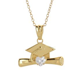 Venus - Graduation Collection - Gold Plated Necklace with an Oxford Cap and Certificate Pendant