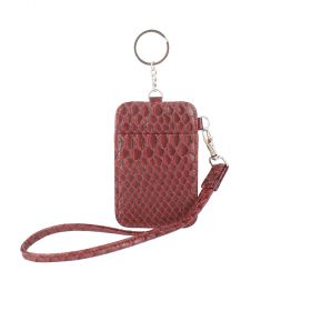 Keys & Card Holder Embossed Snake - Burgundy